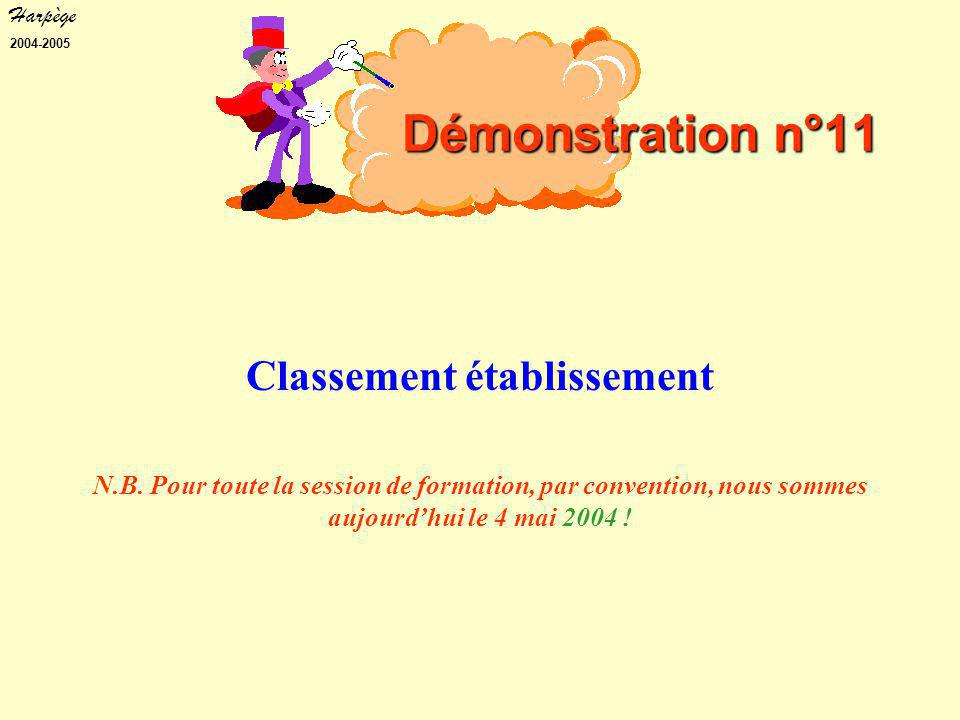 Harpège 2004-2005 Démonstration n°11 Classement établissement N.B.