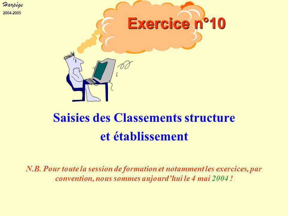 Harpège 2004-2005 Saisies des Classements structure et établissement N.B.