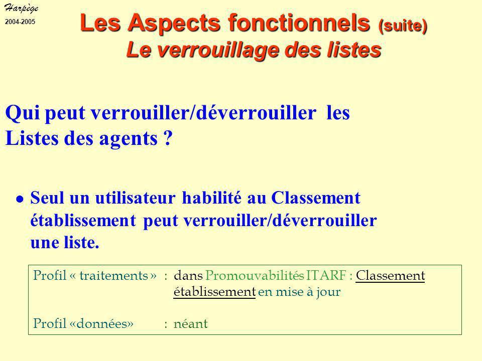 Harpège 2004-2005 Profil « traitements »: dans Promouvabilités ITARF : Classement établissement en mise à jour Profil «données» :néant Les Aspects fonctionnels (suite) Le verrouillage des listes Qui peut verrouiller/déverrouiller les Listes des agents .