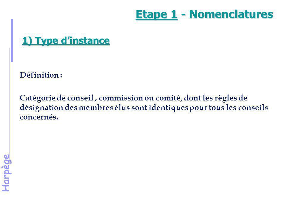 Harpège 1) Type d'instance (suite) Les types d'instance enregistrés dans l'outil «listes électorales» : Conseil d'Administration Conseil des Etudes et de la Vie Universitaire Conseil Scientifique Conseil d'U.F.R.
