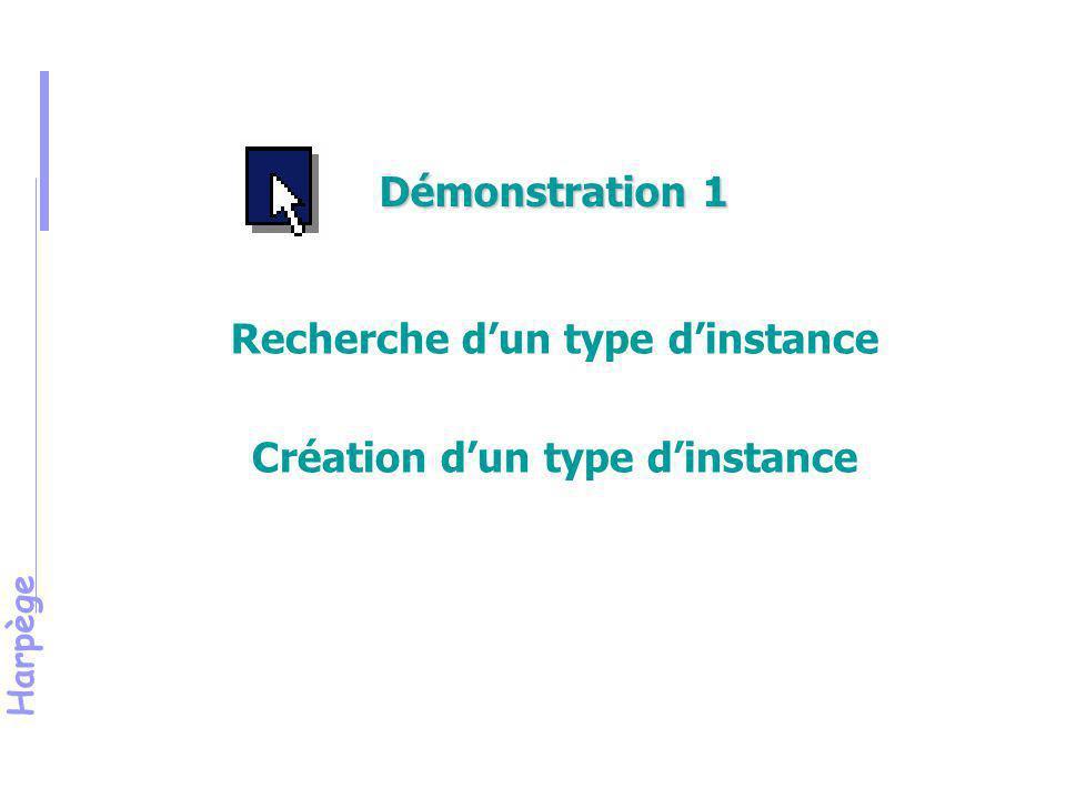 Harpège Exercice 1 Recherche d'un type d'instance Création d'un type d'instance