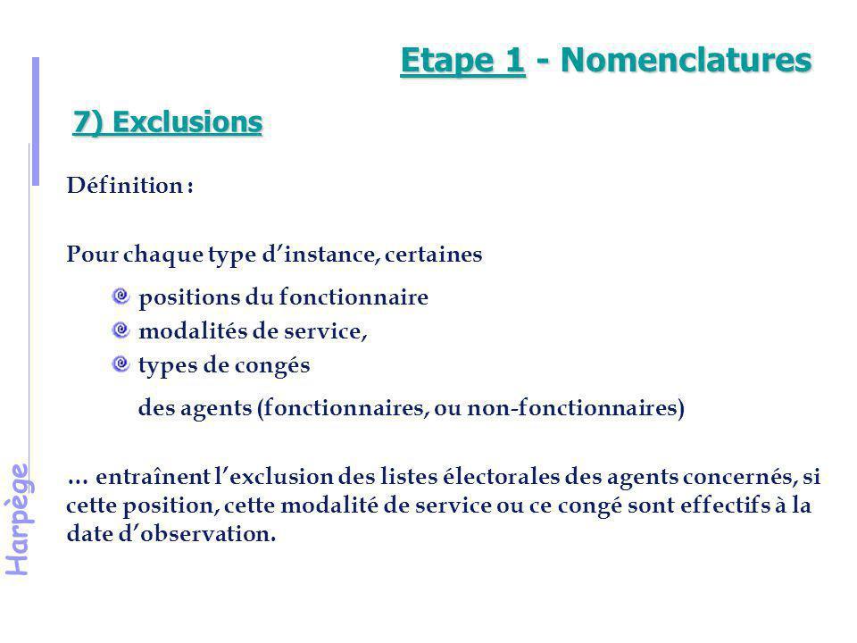 Harpège 7) Exclusions (suite) Les types d'instance enregistrés dans Harpège font l'objet d'une prise en compte automatique des cas d'exclusion (sur la base des prescriptions réglementaires) Ils constituent des «groupes d'exclusions», par type d'instance et par sous-ensemble de personnels (enseignants titulaires et stagiaires, IATOS titulaires et stagiaires, Enseignants non titulaires, IATOS non titulaires).