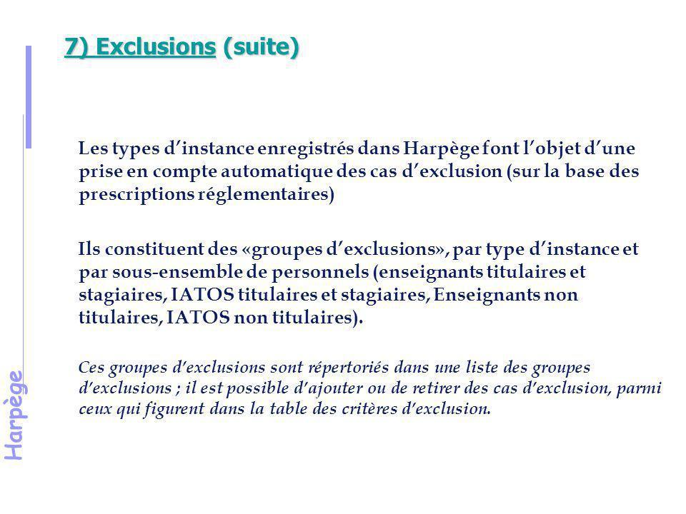 Harpège 7) Exclusions (suite) Il est possible d'exclure des électeurs de la liste des électeurs en passant par l'écran Liste des électeurs.