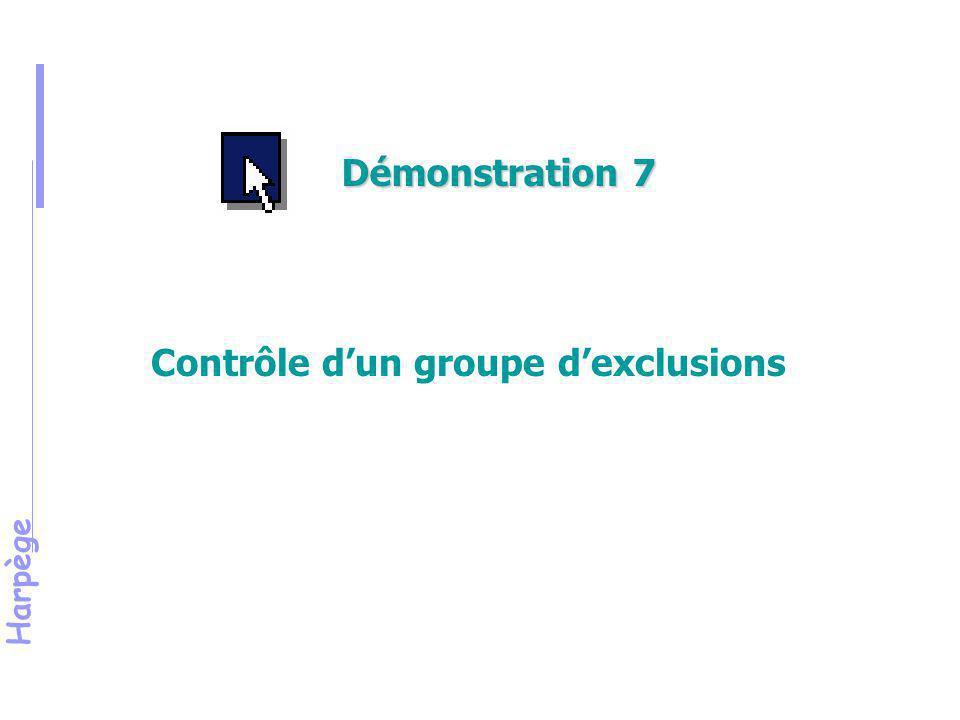 Harpège Exercice 5 Création d'un groupe d'exclusions