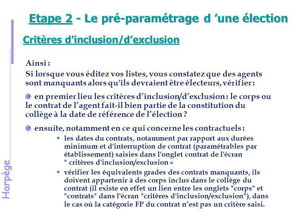 Harpège Démonstration 8 Contrôle des critères de participation à l'élection d'un type d'instance