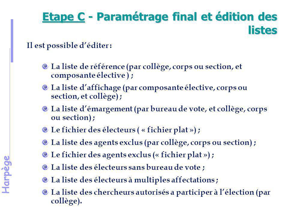 Harpège Démonstration 10 Intégration des chercheurs dans les listes électorales