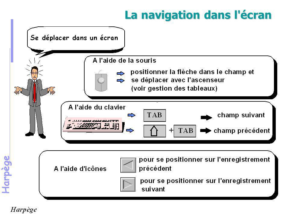 Harpège La navigation entre plusieurs écrans Navigation entre écrans : à l'aide de la souris bouton Dans un écran pour atteindre un autre écran menu Activer des écrans en faisant des choix dans les menus déroulants icône sortie Revenir au menu d'accueil et accéder à d'autres fonctionnalités onglet Dans un écran pour atteindre une autre fenêtre