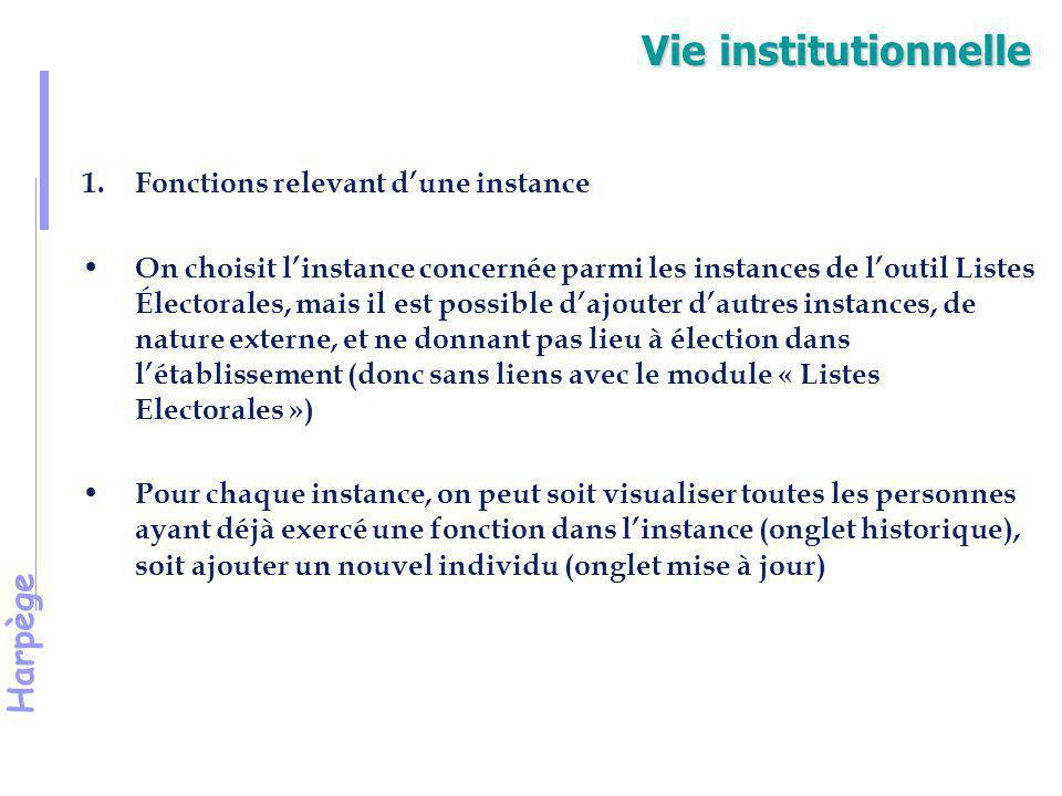Harpège Vie institutionnelle 1.Fonctions relevant d'une instance (suite) La création d'une instance externe (mais qui ne servira que pour la saisie de fonctions) se fait dans le menu nomenclature/établissement/paramétrage et nomenclature fonctions.