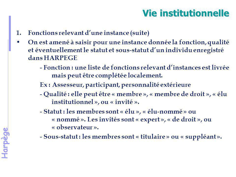 Harpège Vie institutionnelle 2.Les fonctions de conseil, d'expertise et autres L'objectif est de recenser pour chaque fonction d'expertise et de conseil ou autre, les individus qui ont exercé cette fonction dans l'établissement.