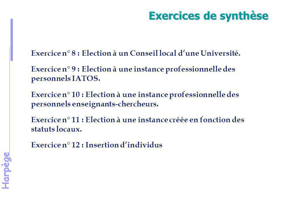 Harpège Exercice 8 Election à un Conseil local d'une Université.