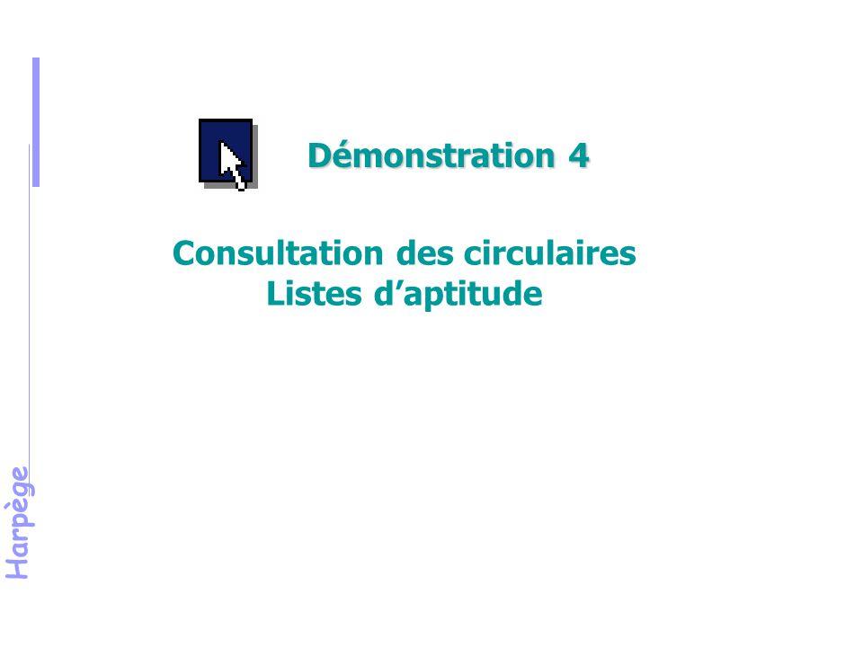 Harpège Consultation des circulaires Listes d'aptitude Démonstration 4