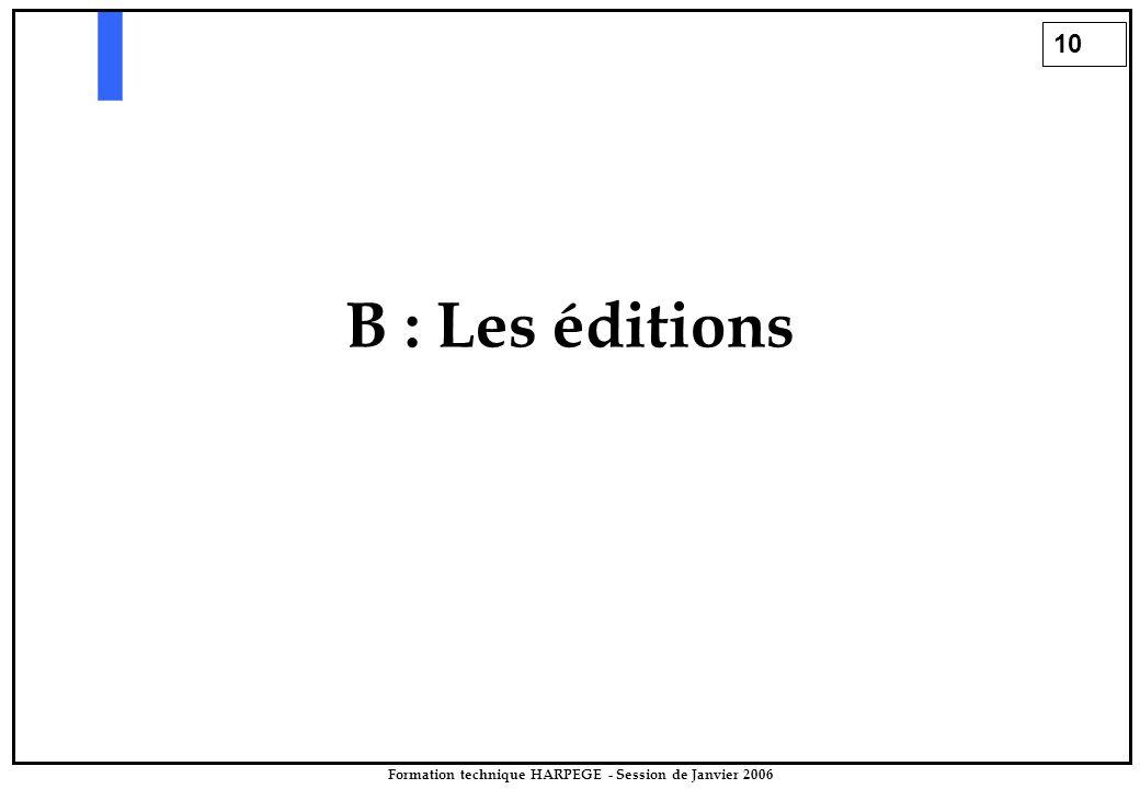 10 Formation technique HARPEGE - Session de Janvier 2006 B : Les éditions