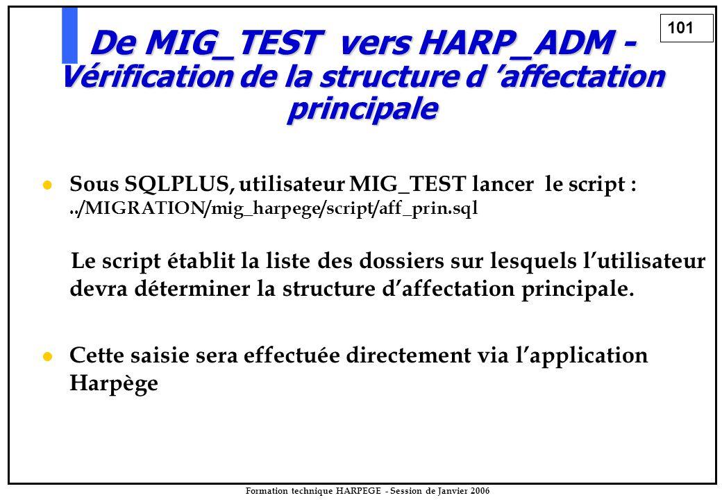 101 Formation technique HARPEGE - Session de Janvier 2006 Sous SQLPLUS, utilisateur MIG_TEST lancer le script :../MIGRATION/mig_harpege/script/aff_prin.sql Le script établit la liste des dossiers sur lesquels l'utilisateur devra déterminer la structure d'affectation principale.