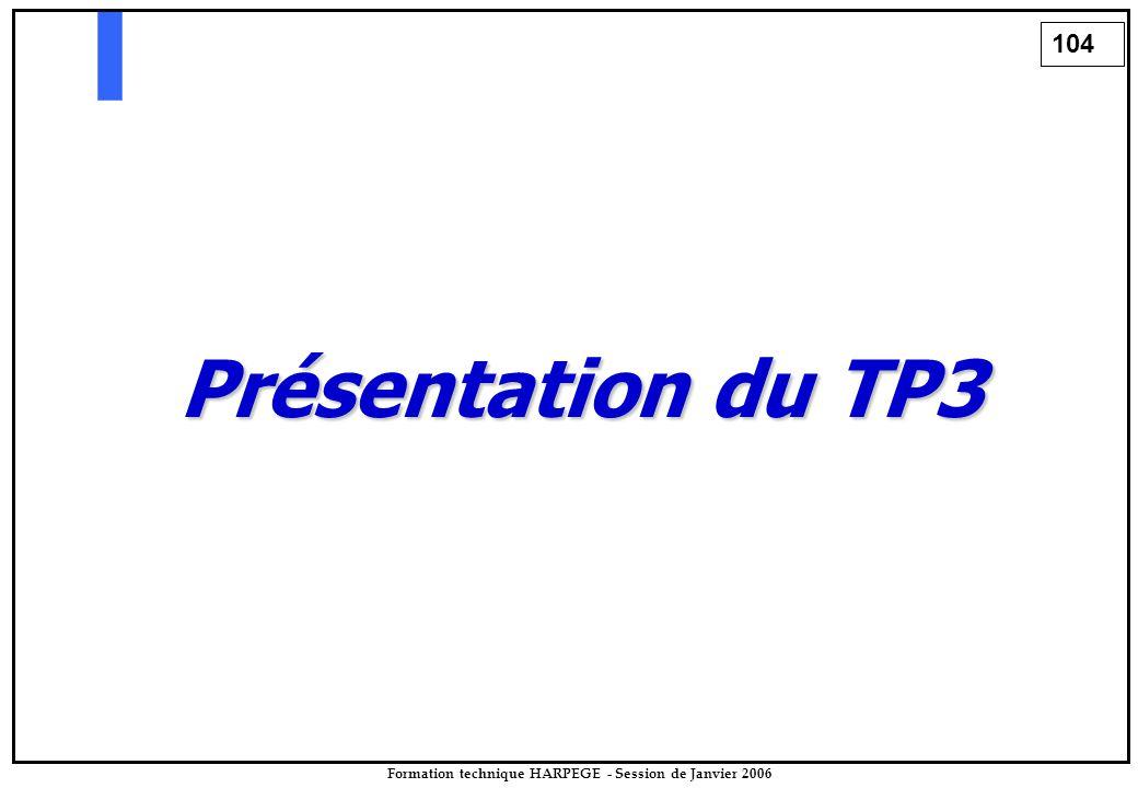 104 Formation technique HARPEGE - Session de Janvier 2006 Présentation du TP3