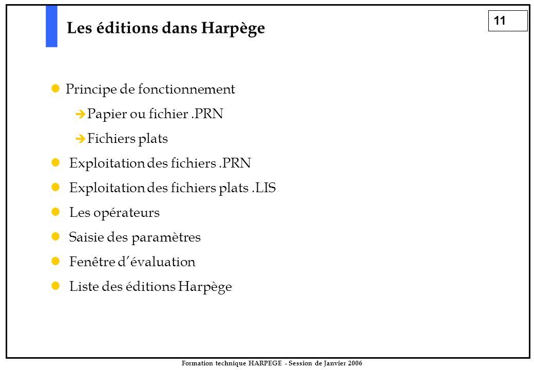 11 Formation technique HARPEGE - Session de Janvier 2006 Les éditions dans Harpège Principe de fonctionnement   Papier ou fichier.PRN   Fichiers p