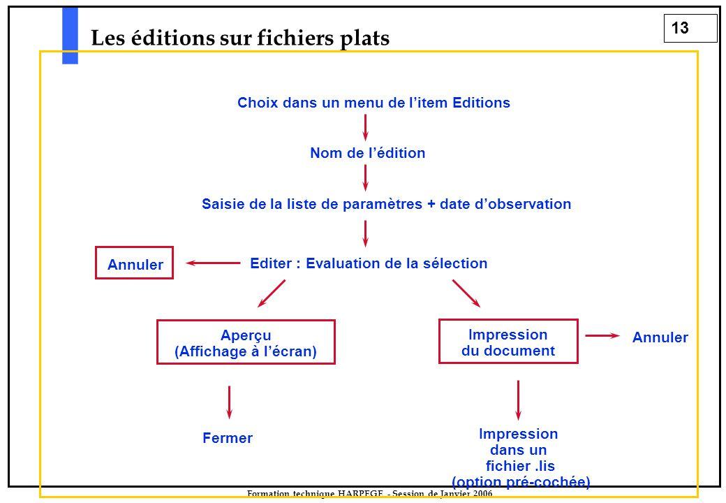 13 Formation technique HARPEGE - Session de Janvier 2006 Les éditions sur fichiers plats Saisie de la liste de paramètres + date d'observation Editer