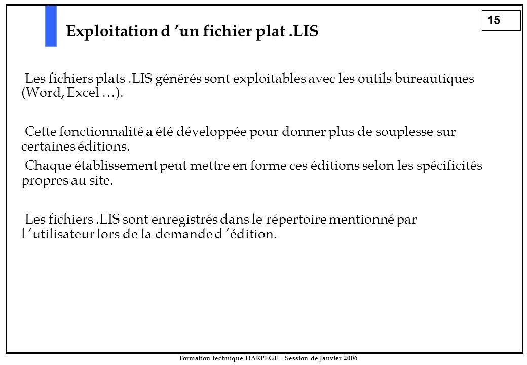 15 Formation technique HARPEGE - Session de Janvier 2006 Exploitation d 'un fichier plat.LIS Les fichiers plats.LIS générés sont exploitables avec les outils bureautiques (Word, Excel …).