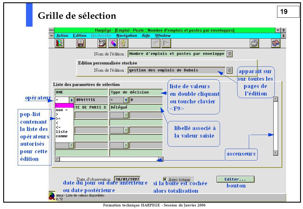 19 Formation technique HARPEGE - Session de Janvier 2006 Grille de sélection