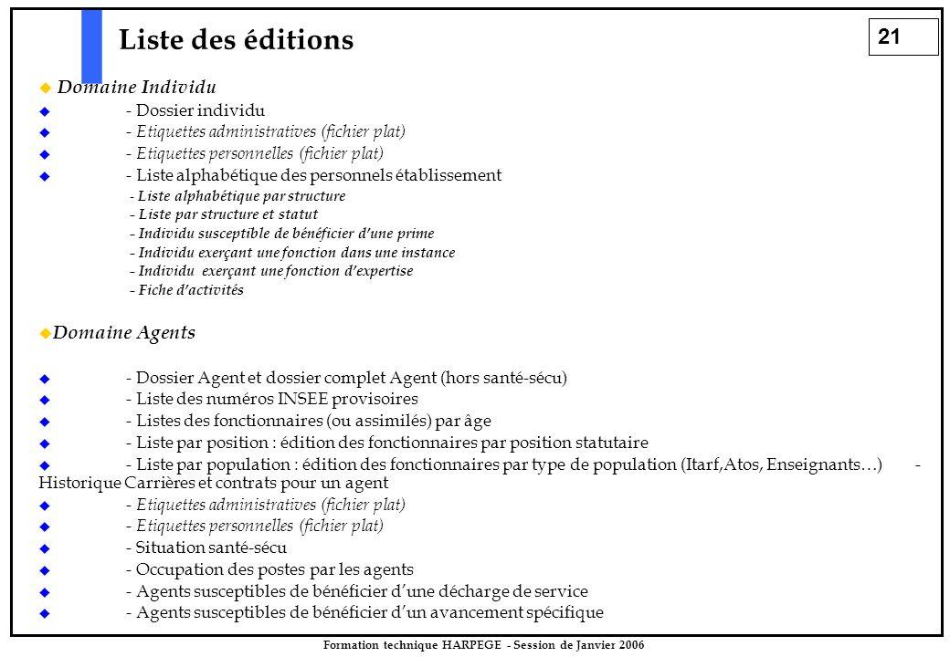 21 Formation technique HARPEGE - Session de Janvier 2006 Liste des éditions  Domaine Individu  - Dossier individu  - Etiquettes administratives (fi