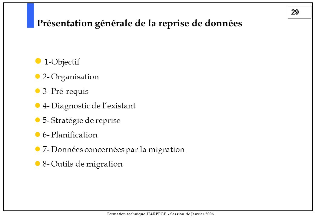 29 Formation technique HARPEGE - Session de Janvier 2006 Présentation générale de la reprise de données 1-Objectif 2- Organisation 3- Pré-requis 4- Diagnostic de l'existant 5- Stratégie de reprise 6- Planification 7- Données concernées par la migration 8- Outils de migration