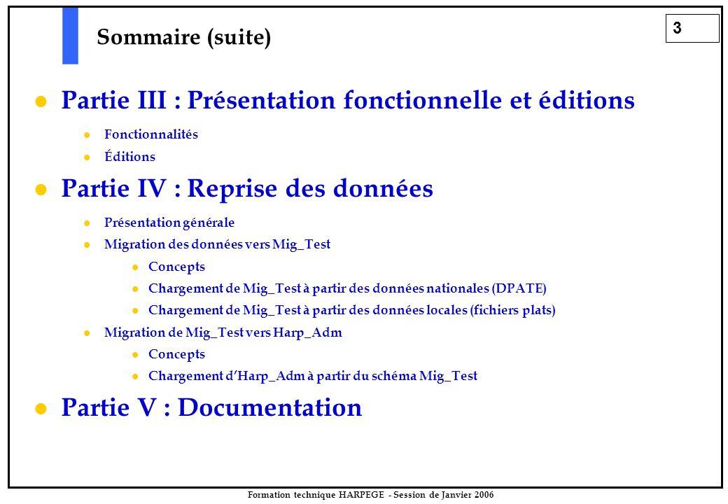 3 Formation technique HARPEGE - Session de Janvier 2006 Sommaire (suite) Partie III : Présentation fonctionnelle et éditions Fonctionnalités Éditions Partie IV : Reprise des données Présentation générale Migration des données vers Mig_Test Concepts Chargement de Mig_Test à partir des données nationales (DPATE) Chargement de Mig_Test à partir des données locales (fichiers plats) Migration de Mig_Test vers Harp_Adm Concepts Chargement d'Harp_Adm à partir du schéma Mig_Test Partie V : Documentation