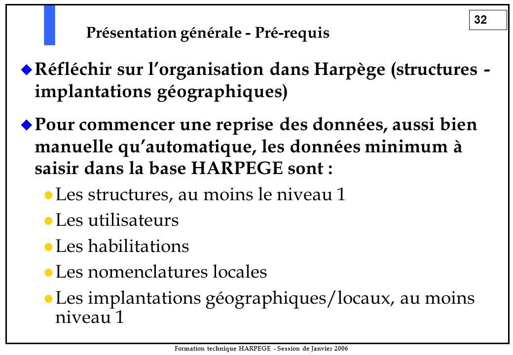 32 Formation technique HARPEGE - Session de Janvier 2006 Présentation générale - Pré-requis  Réfléchir sur l'organisation dans Harpège (structures - implantations géographiques)  Pour commencer une reprise des données, aussi bien manuelle qu'automatique, les données minimum à saisir dans la base HARPEGE sont : Les structures, au moins le niveau 1 Les utilisateurs Les habilitations Les nomenclatures locales Les implantations géographiques/locaux, au moins niveau 1