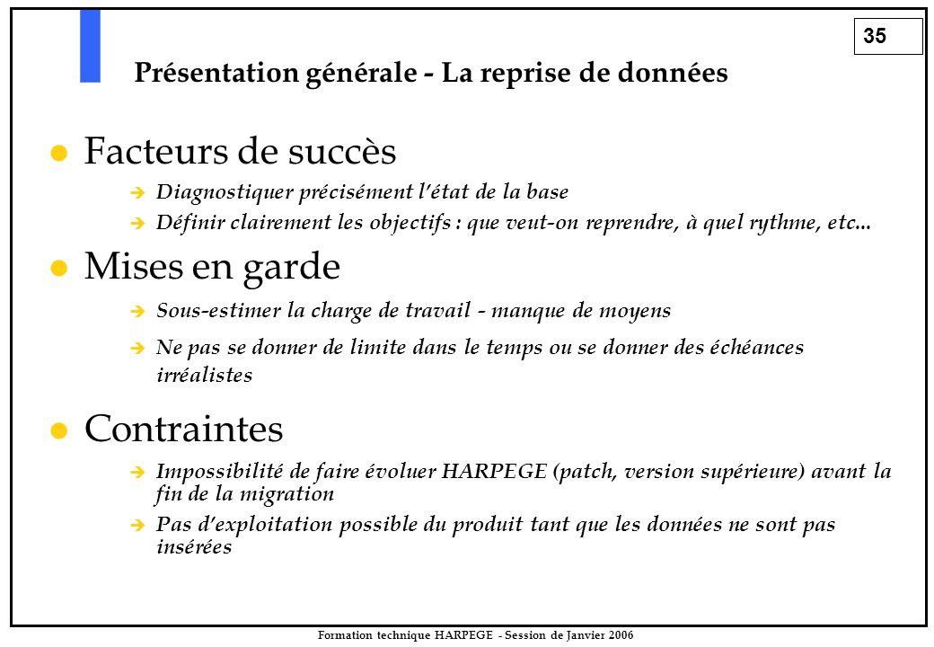 35 Formation technique HARPEGE - Session de Janvier 2006 Présentation générale - La reprise de données Facteurs de succès  Diagnostiquer précisément l'état de la base  Définir clairement les objectifs : que veut-on reprendre, à quel rythme, etc...