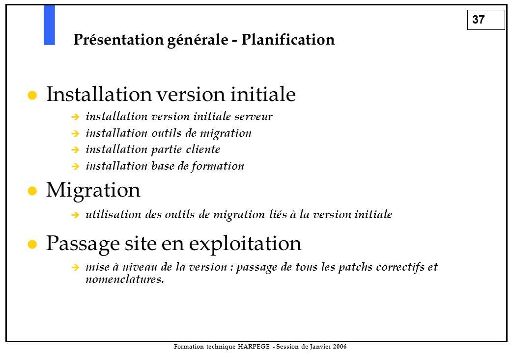 37 Formation technique HARPEGE - Session de Janvier 2006 Présentation générale - Planification Installation version initiale  installation version in