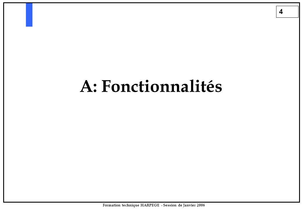4 Formation technique HARPEGE - Session de Janvier 2006 A: Fonctionnalités