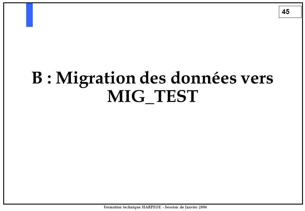 45 Formation technique HARPEGE - Session de Janvier 2006 B : Migration des données vers MIG_TEST