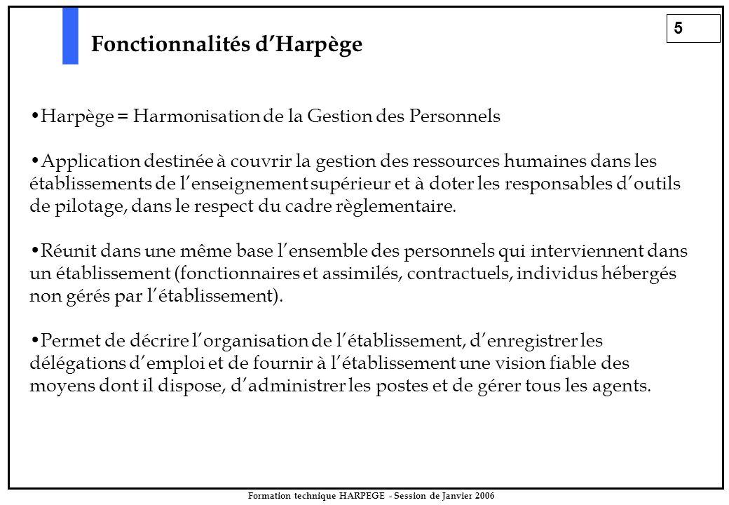 5 Formation technique HARPEGE - Session de Janvier 2006 Fonctionnalités d'Harpège Harpège = Harmonisation de la Gestion des Personnels Application destinée à couvrir la gestion des ressources humaines dans les établissements de l'enseignement supérieur et à doter les responsables d'outils de pilotage, dans le respect du cadre règlementaire.