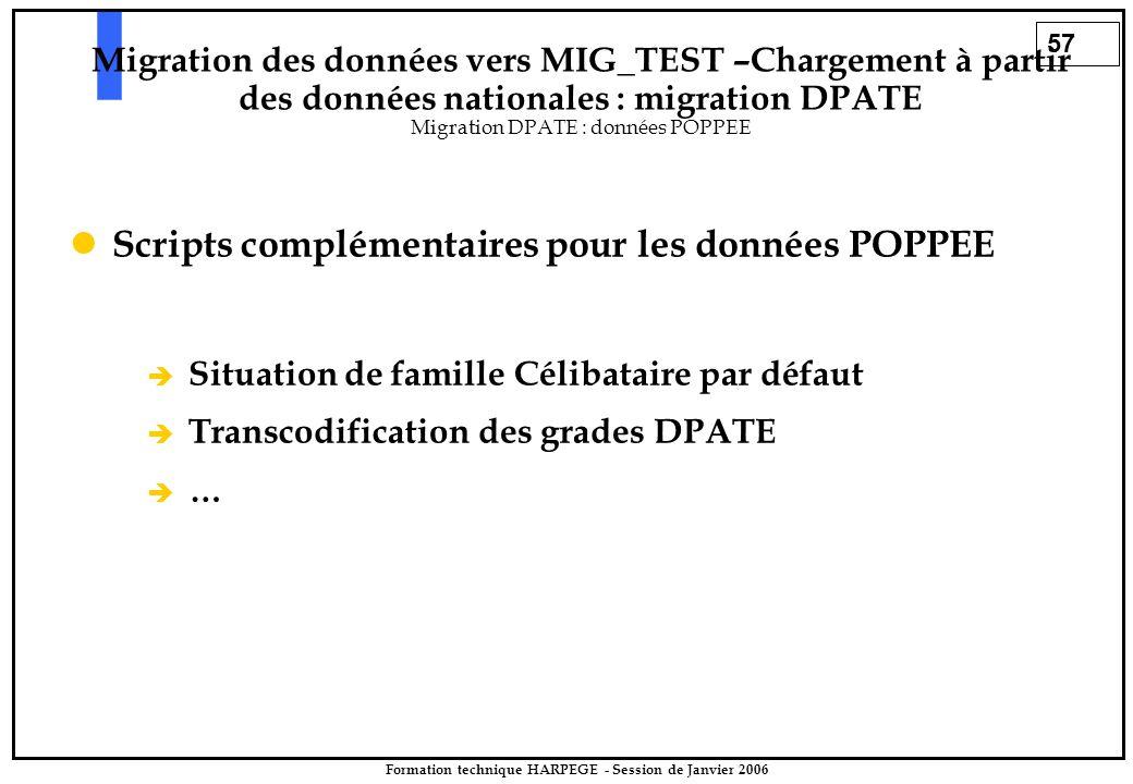 57 Formation technique HARPEGE - Session de Janvier 2006 Scripts complémentaires pour les données POPPEE è è Situation de famille Célibataire par défa