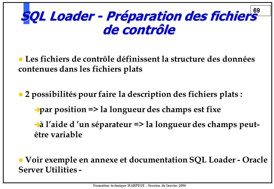 69 Formation technique HARPEGE - Session de Janvier 2006 Les fichiers de contrôle définissent la structure des données contenues dans les fichiers plats 2 possibilités pour faire la description des fichiers plats :   par position => la longueur des champs est fixe   à l'aide d 'un séparateur => la longueur des champs peut- être variable Voir exemple en annexe et documentation SQL Loader - Oracle Server Utilities - SQL Loader - Préparation des fichiers de contrôle