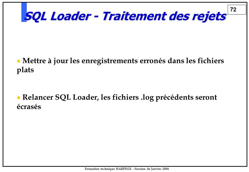 72 Formation technique HARPEGE - Session de Janvier 2006 SQL Loader - Traitement des rejets Mettre à jour les enregistrements erronés dans les fichiers plats Relancer SQL Loader, les fichiers.log précédents seront écrasés