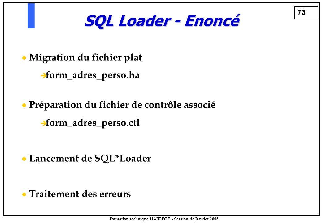 73 Formation technique HARPEGE - Session de Janvier 2006 SQL Loader - Enoncé Migration du fichier plat   form_adres_perso.ha Préparation du fichier de contrôle associé   form_adres_perso.ctl Lancement de SQL*Loader Traitement des erreurs
