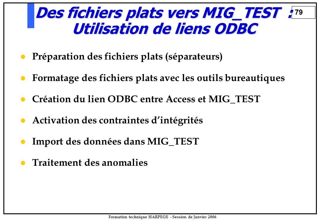 79 Formation technique HARPEGE - Session de Janvier 2006 Préparation des fichiers plats (séparateurs) Formatage des fichiers plats avec les outils bur
