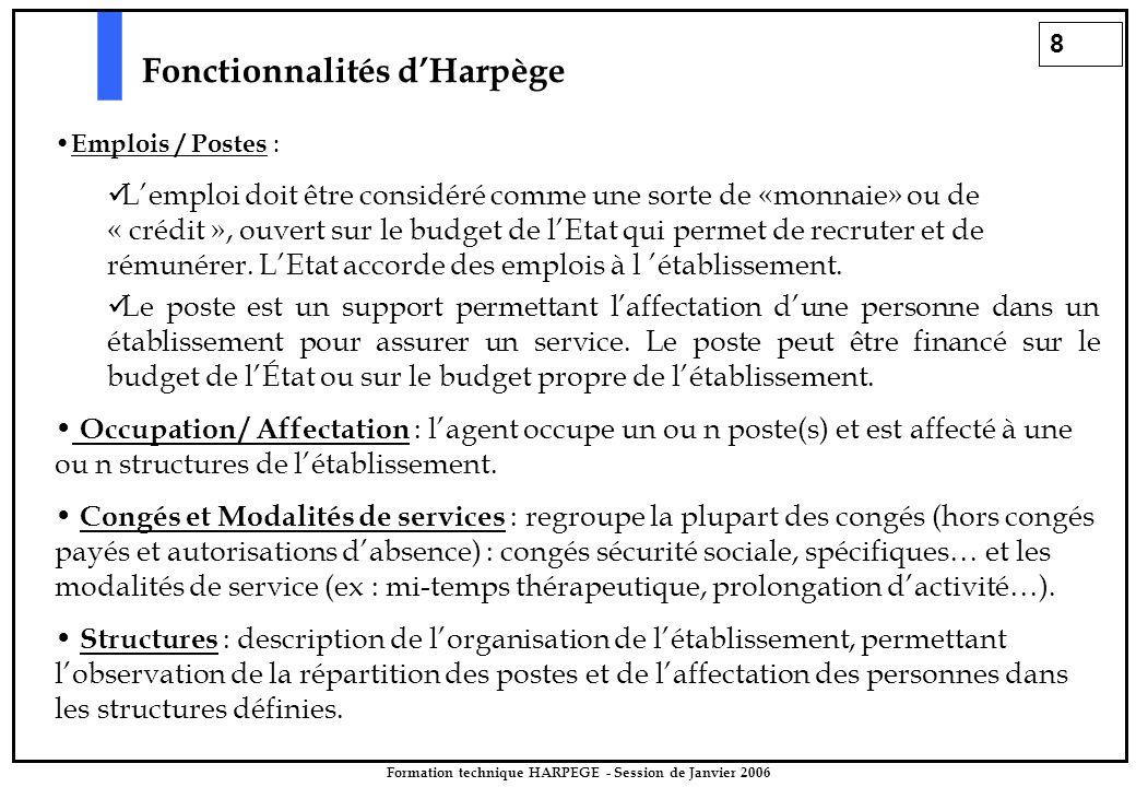 8 Formation technique HARPEGE - Session de Janvier 2006 Fonctionnalités d'Harpège Emplois / Postes : L'emploi doit être considéré comme une sorte de «monnaie» ou de « crédit », ouvert sur le budget de l'Etat qui permet de recruter et de rémunérer.