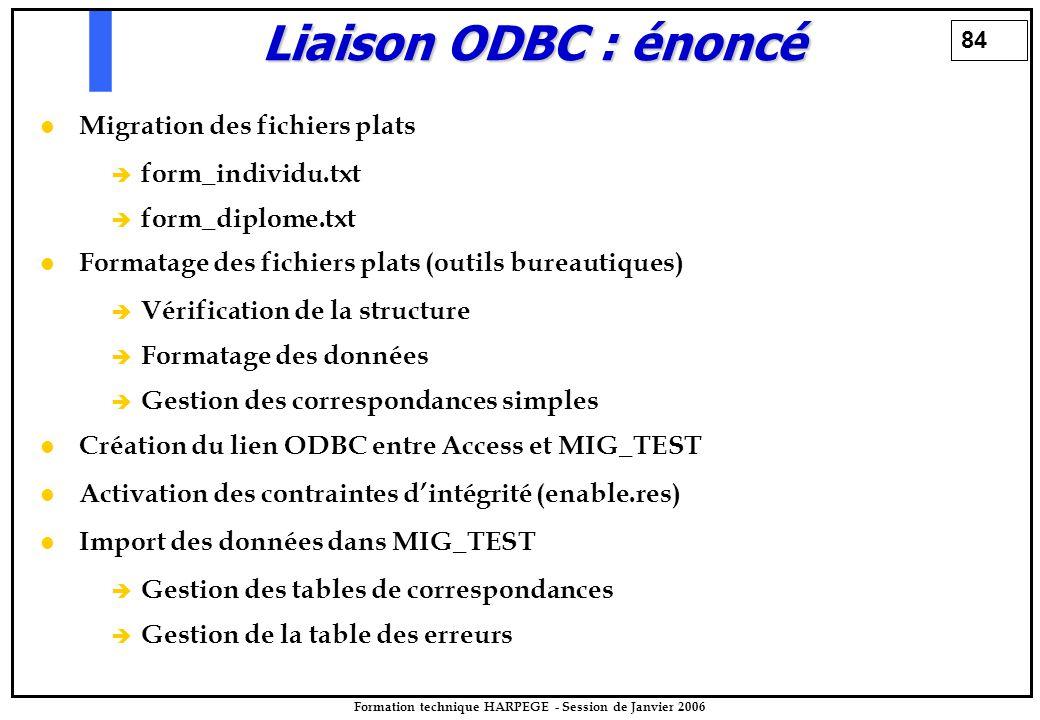 84 Formation technique HARPEGE - Session de Janvier 2006 Liaison ODBC : énoncé Migration des fichiers plats è è form_individu.txt è è form_diplome.txt