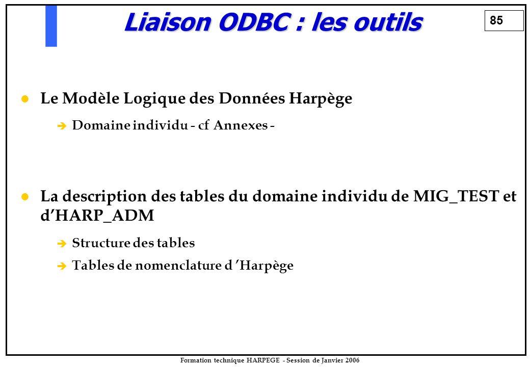 85 Formation technique HARPEGE - Session de Janvier 2006 Liaison ODBC : les outils Le Modèle Logique des Données Harpège è è Domaine individu - cf Ann
