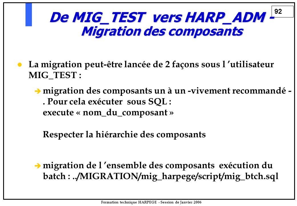 92 Formation technique HARPEGE - Session de Janvier 2006 De MIG_TEST vers HARP_ADM - Migration des composants La migration peut-être lancée de 2 façons sous l 'utilisateur MIG_TEST :   migration des composants un à un -vivement recommandé -.