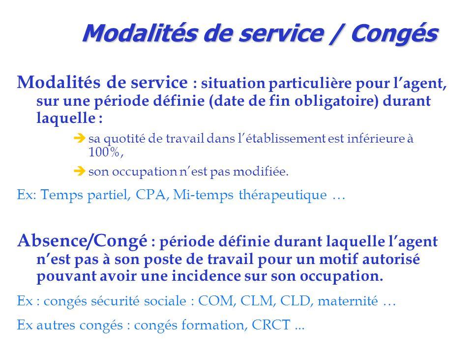 Modalités de service / Congés Modalités de service : situation particulière pour l'agent, sur une période définie (date de fin obligatoire) durant laq
