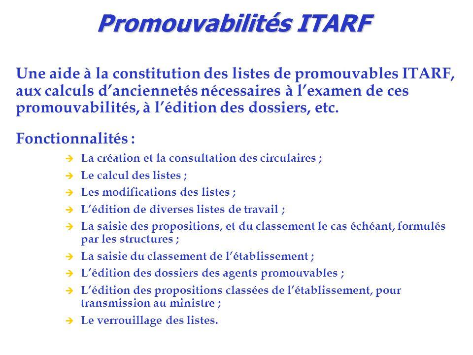 Promouvabilités ITARF Une aide à la constitution des listes de promouvables ITARF, aux calculs d'anciennetés nécessaires à l'examen de ces promouvabil