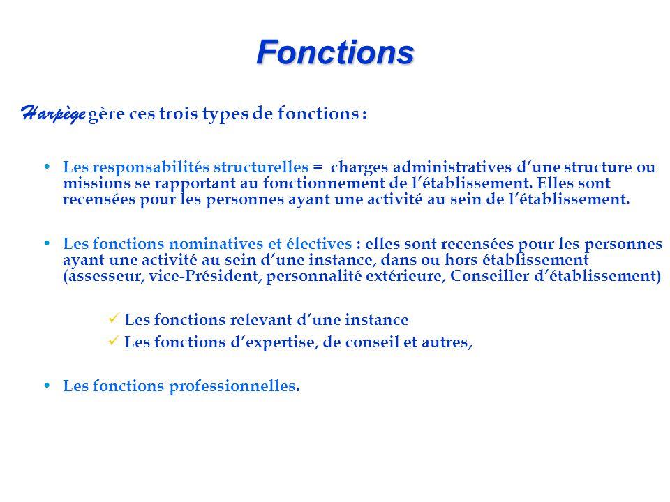 Fonctions Harpège gère ces trois types de fonctions : Les responsabilités structurelles = charges administratives d'une structure ou missions se rappo