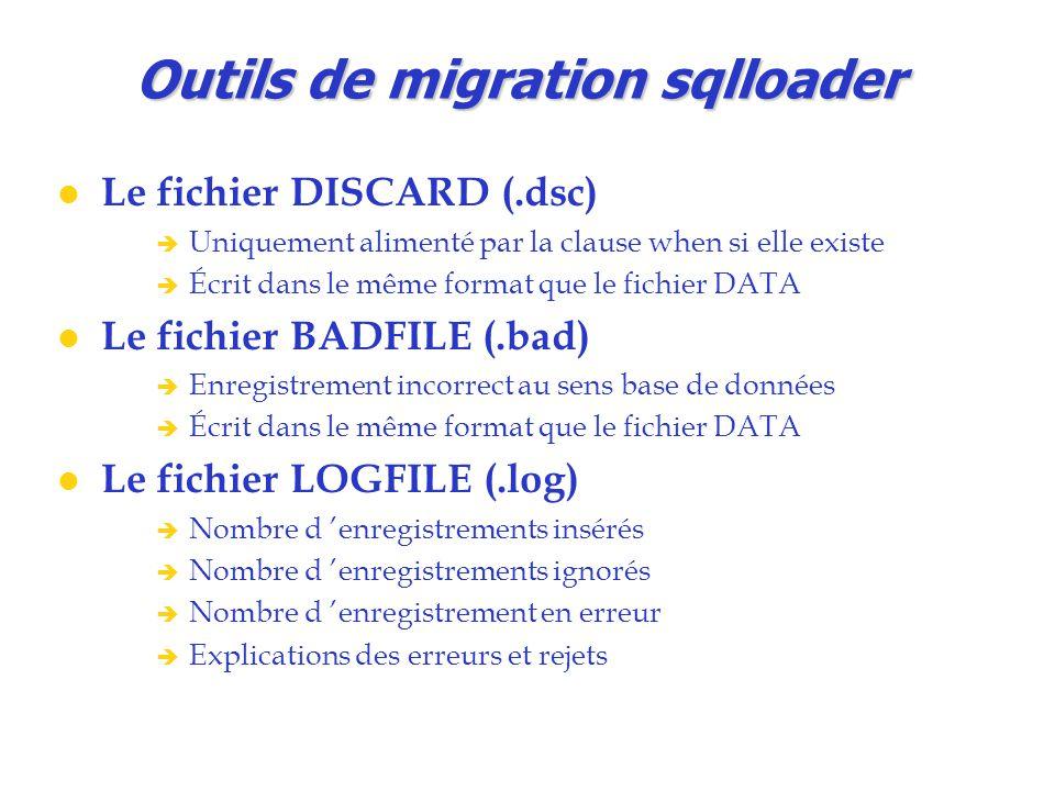 Outils de migration sqlloader Le fichier DISCARD (.dsc)  Uniquement alimenté par la clause when si elle existe  Écrit dans le même format que le fic