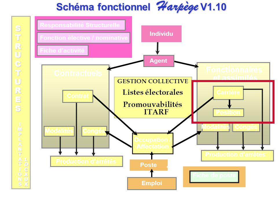 Responsabilité Structurelle Fonction élective / nominative Fiche d'activité GESTION COLLECTIVE Listes électorales Promouvabilités ITARF Occupation / A