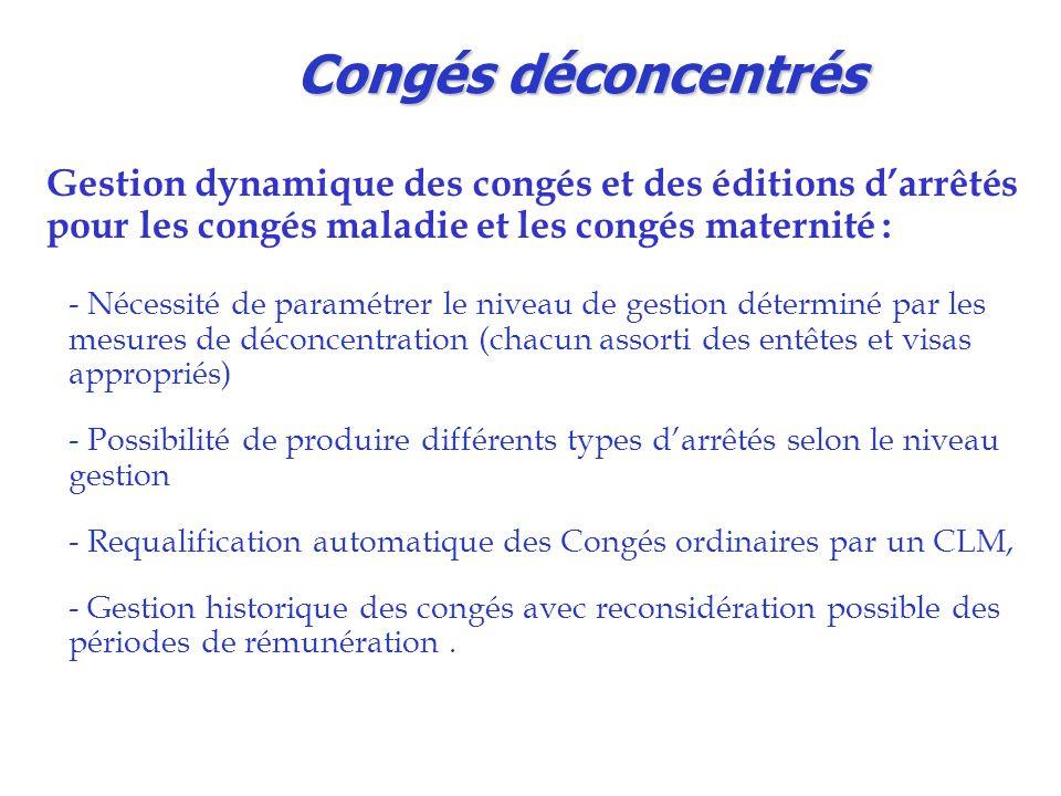 Congés déconcentrés Gestion dynamique des congés et des éditions d'arrêtés pour les congés maladie et les congés maternité : - Nécessité de paramétrer