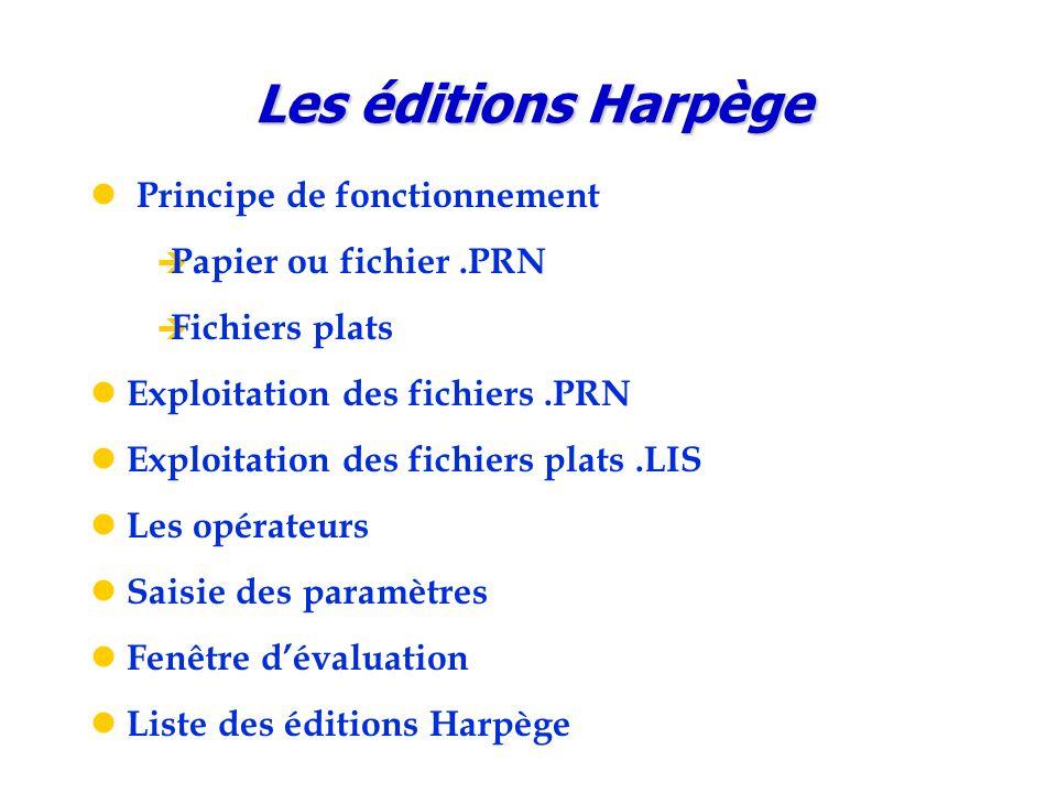 Principe de fonctionnement  Papier ou fichier.PRN  Fichiers plats Exploitation des fichiers.PRN Exploitation des fichiers plats.LIS Les opérateurs S