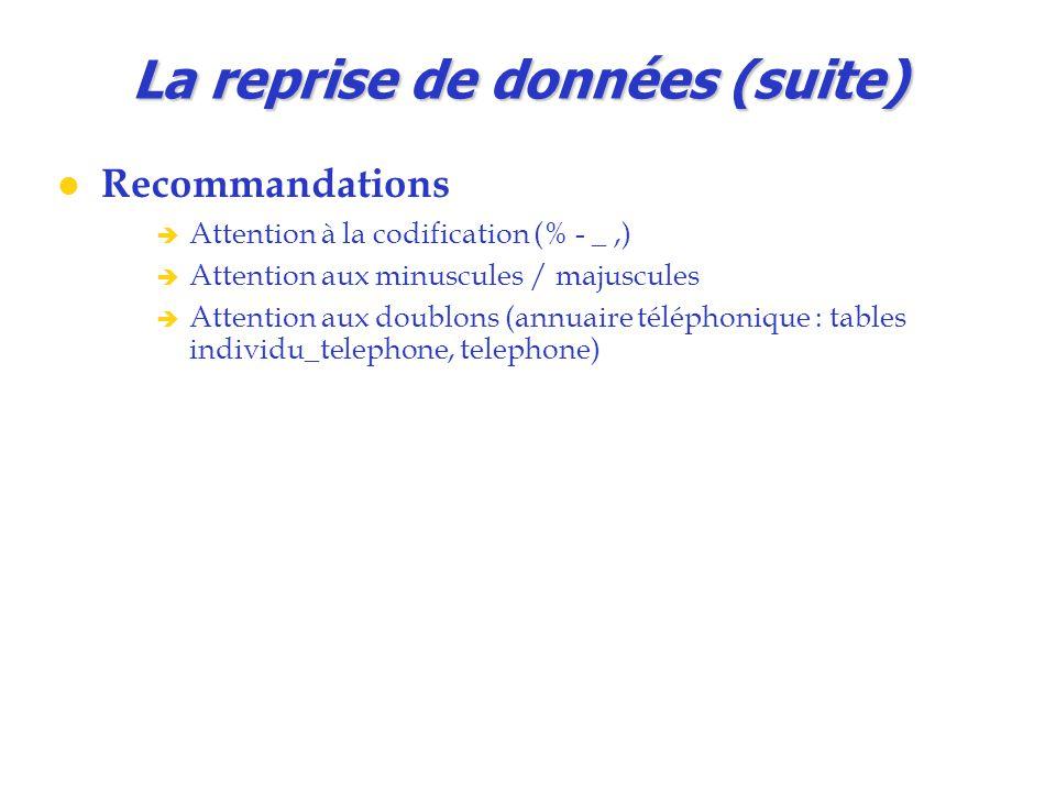 La reprise de données (suite) Recommandations  Attention à la codification (% - _,)  Attention aux minuscules / majuscules  Attention aux doublons