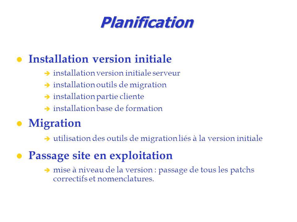 Planification Installation version initiale  installation version initiale serveur  installation outils de migration  installation partie cliente 