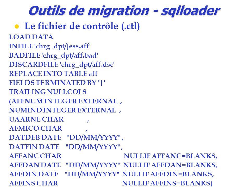 Outils de migration - sqlloader Le fichier de contrôle (.ctl) LOAD DATA INFILE 'chrg_dpt/jess.aff' BADFILE 'chrg_dpt/aff.bad' DISCARDFILE 'chrg_dpt/af